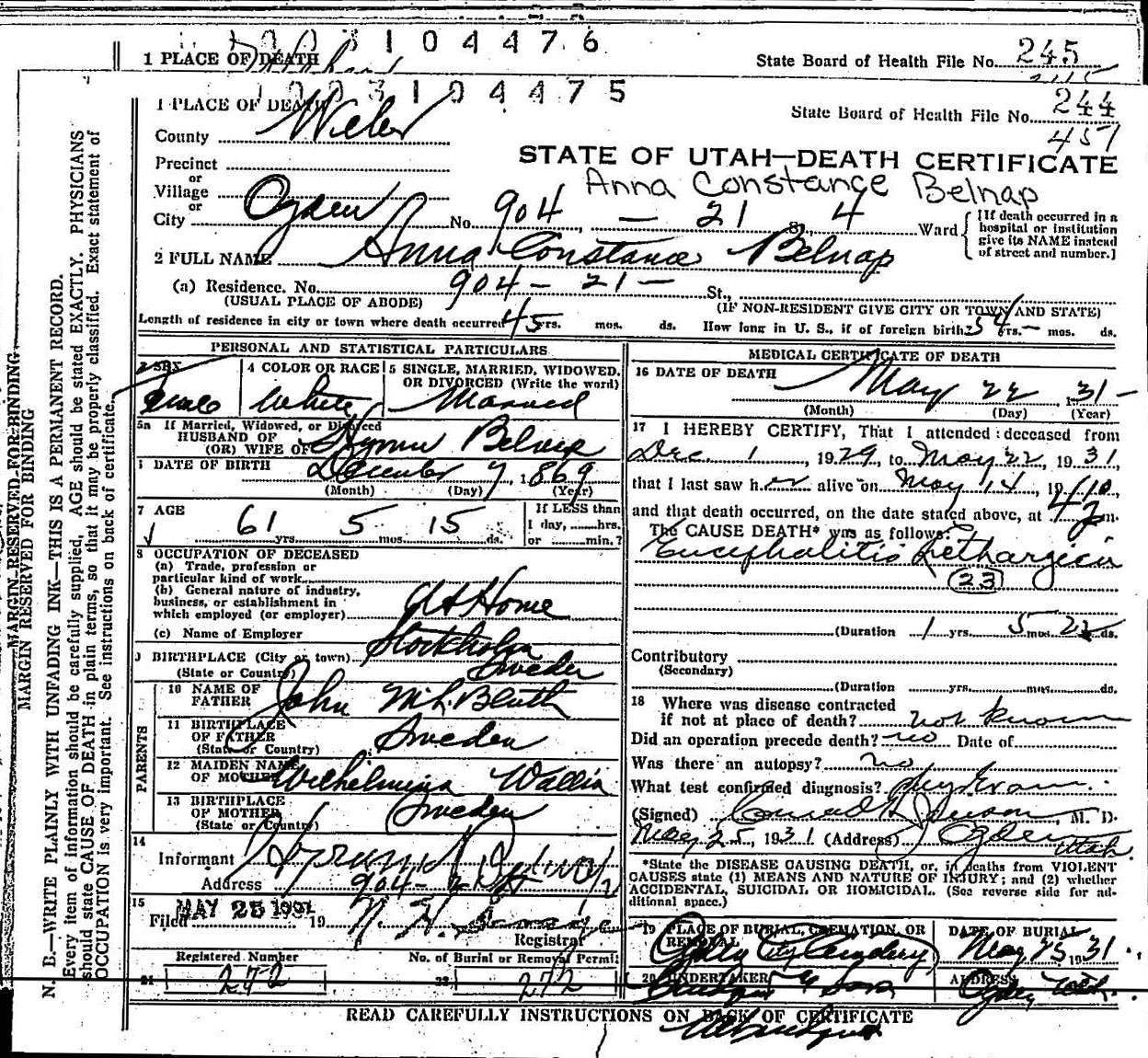 Death records death certificate anna constantia bluth belnap 1931 1betcityfo Choice Image
